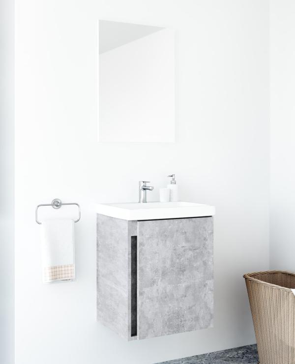 Badmöbel-Set mit Spiegel 50cm (Beton)