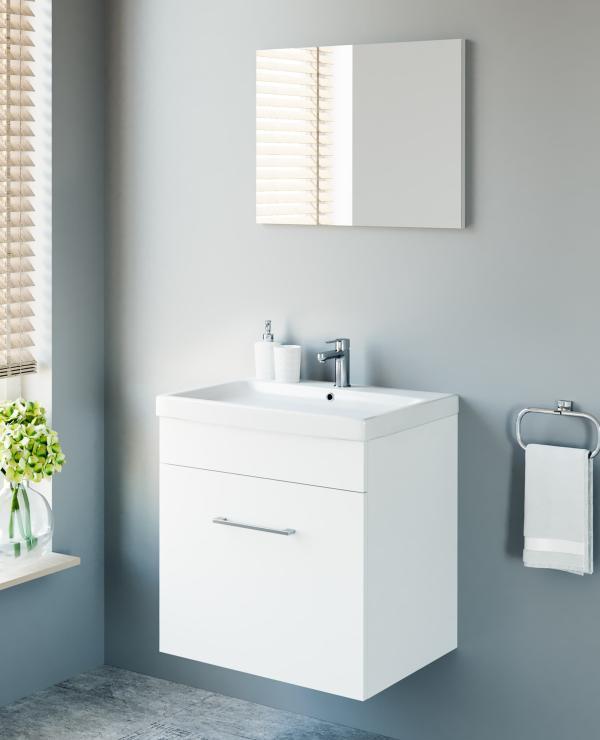 Badmöbel-Set mit Spiegel 60cm (Weiß)