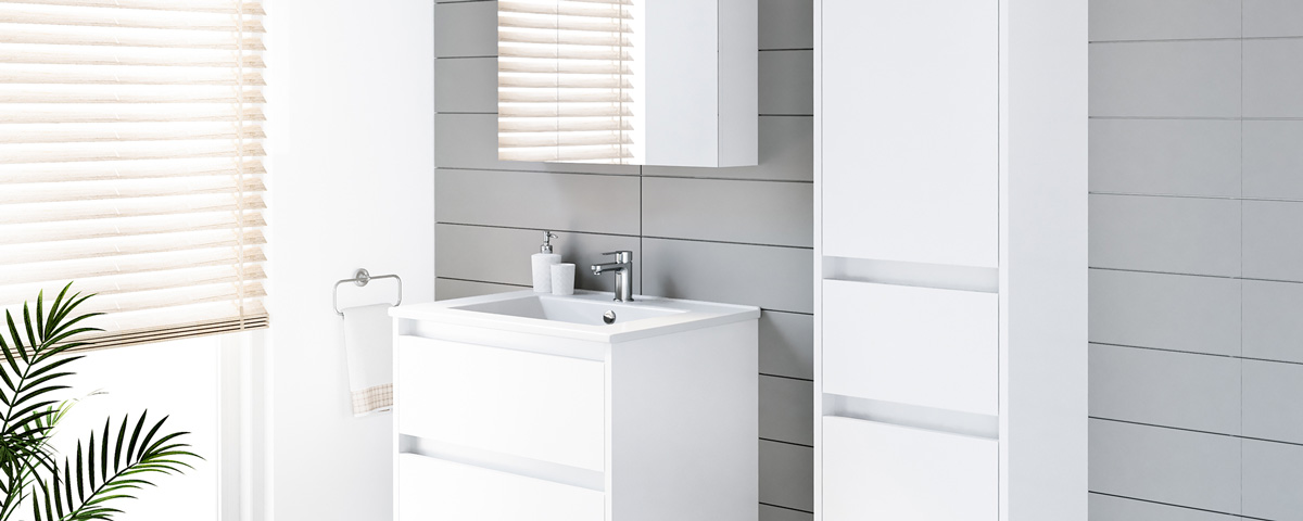 Badschrank 3 Türen Badezimmerschrank 40cm Badmöbel Schrank Modern weiß